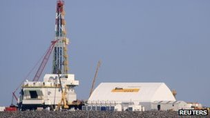 A drill rig under construction at an offshore island in the northern Caspian Sea, part of the Kashagan oilfield, 11 October 2012