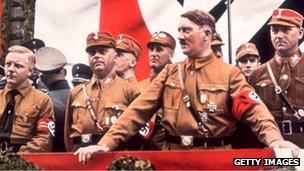 Hitler at a Nazi rally