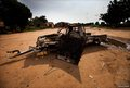 The remains of an Sudanese Armed Forces (SAF) military truck on the outskirts of Kadugli