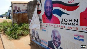 Election posters in Accra, Ghana (23 October 2012)