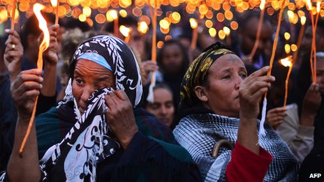 Ethiopians mourning in a candle lit vigil in Addis Ababa