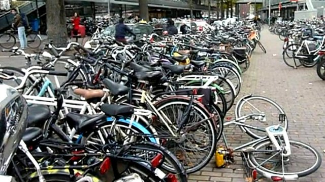 Bicycles lined up in the street