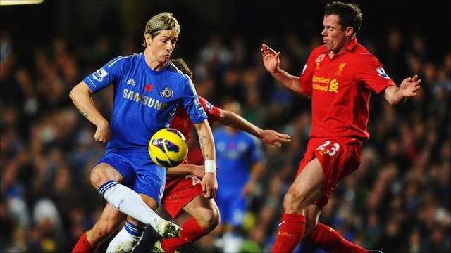 Fernando Torres battles with Jamie Carragher