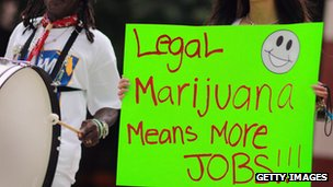 Sign advocating legal marijuana
