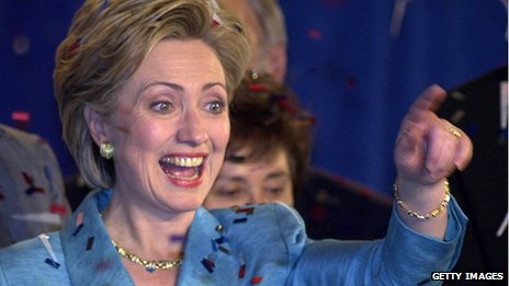 Clinton waves to supporters as she celebrates her election as New York Senator in November 2000
