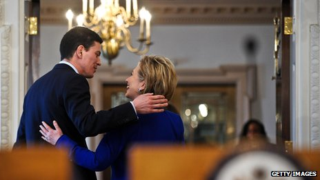 Clinton with former UK Foreign Secretary David Miliband, after a press conference in Washington