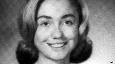 Hillary Clinton poses for her photograph at Park Ridge, Illinois, East High School, in 1965