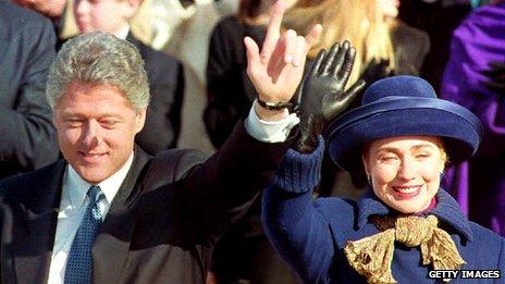 Hillary celebrates husband Bill's inauguration as president in 1993