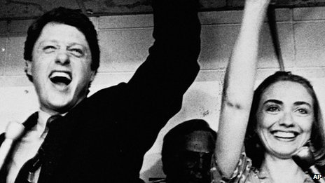 Hillary celebrates husband Bill's victory in a Democratic runoff - ahead of the 1982 gubernatorial elections - in Little Rock, Arkansas.