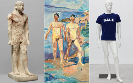 Egyptian statue, Edvard Munch's bathers and Heimo Zobernig's male mannequin