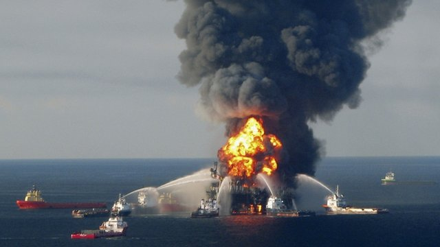 Fire boat response crews battle the blazing remnants of the offshore oil rig Deepwater Horizon, off Louisiana, in April 21, 2010