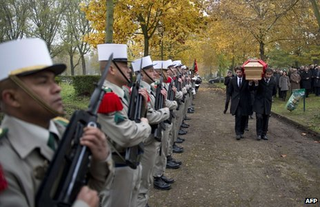 King Zog's remains are carried from his grave at Thiais, south of Paris, 14 November