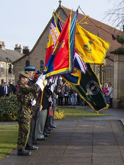 Flag bearers at the Royal British Legion's service of remembrance