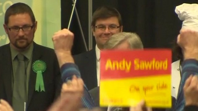 Andy Sawford smiling as his result is announced