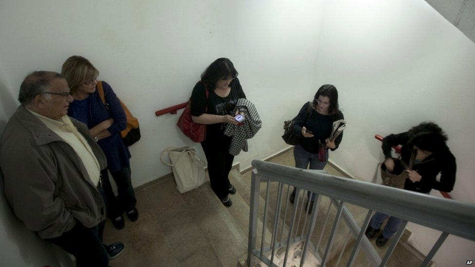 Civilians in a hospital in Jerusalem, 16 November 2012
