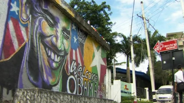 Graffiti of President Obama on a wall in Rangoon, Burma