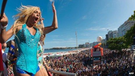 Transvestite at Rio's gay pride parade