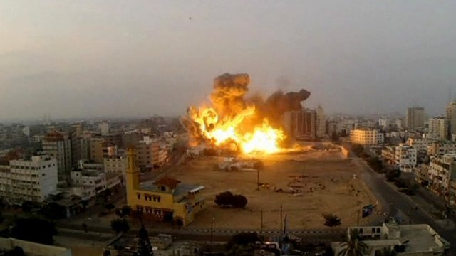 A missile strike on the Gaza landscape