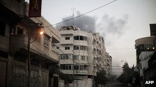 Smoke from an air strike on Gaza City on 19 November.