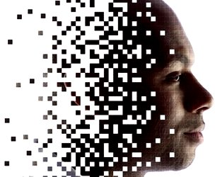 Graphic of face as data points