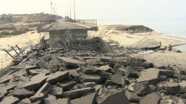 Destroyed bridge in Gaza