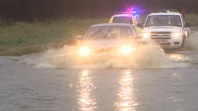 Flooding on the A38 in Moreton Valance