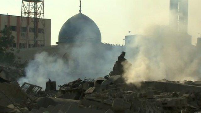 Rubble in Gaza City