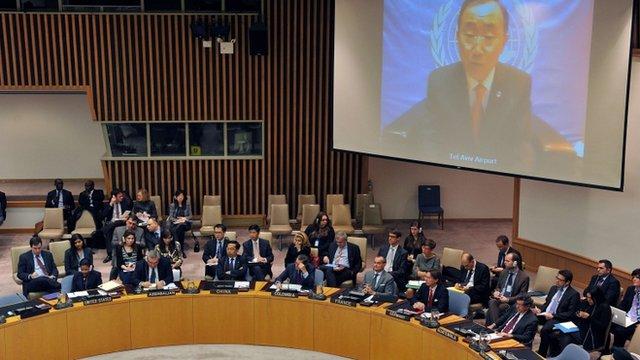 Ban Ki-moon addressing UN Security Council via videolink
