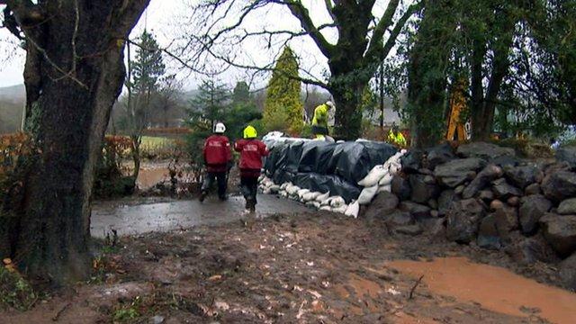 Building a wall of sandbags