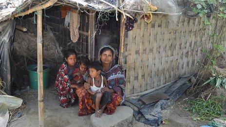 Sameera Begum outside her house