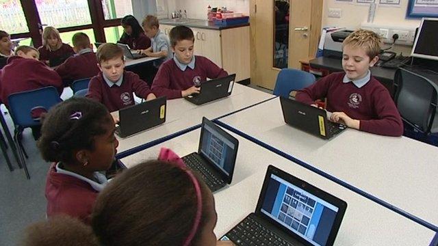 Pupils in a new Peterborough school