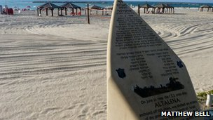 Memorial to the Altalena on the beach at Tel Aviv