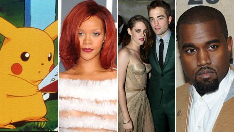 Pokemon, Rihanna, Twilight, Kanye West