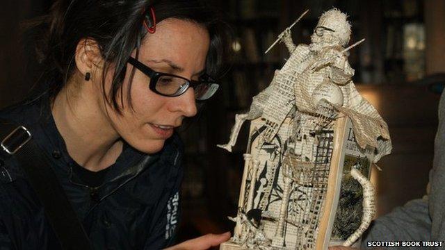 Emma Lister finding first book sculpture