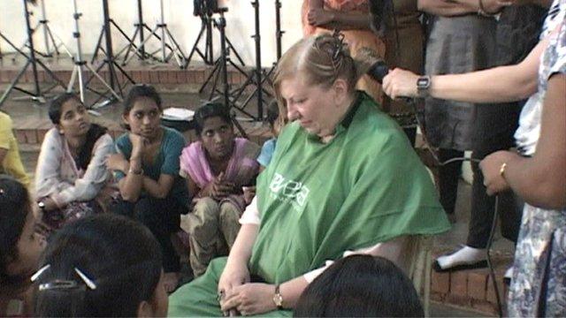 Lady having her hair dried