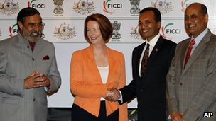 Naveen Jindal (third from the left) with Australian PM Julia Gillard and India's minister for commerce Anand Sharma (far left) in New Delhi on 16/10/12