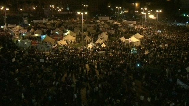Thousands of people gather in Tahrir Square, Cairo