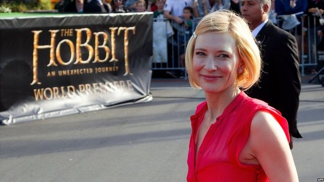 Actress Cate Blanchett arriving for the world premiere of The Hobbit movie in Courtenay Place in Wellington, 28 November 2012