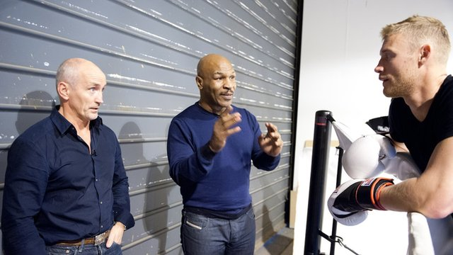 Mike Tyson and Barry McGuigan offer advice to Andrew Flintoff