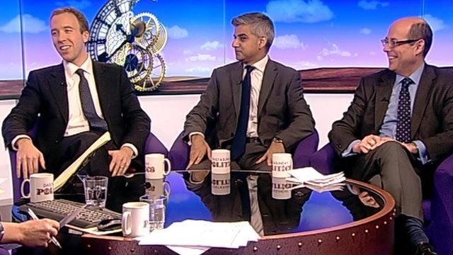 Matthew Hancock, Sadiq Khan and Nick Robinson