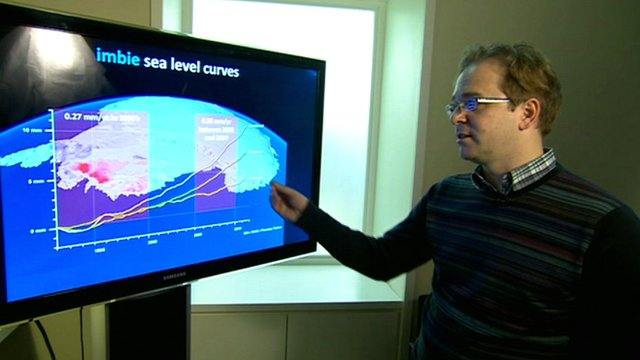 Professor Andrew Shepherd with ice data