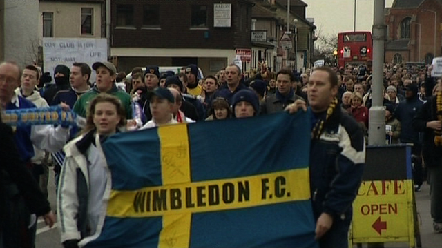 Wimbledon FC supporters protest against the club's move to Milton Keynes
