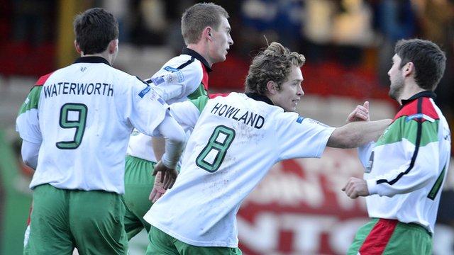 David Howland celebrates his goal against Ballinamallard