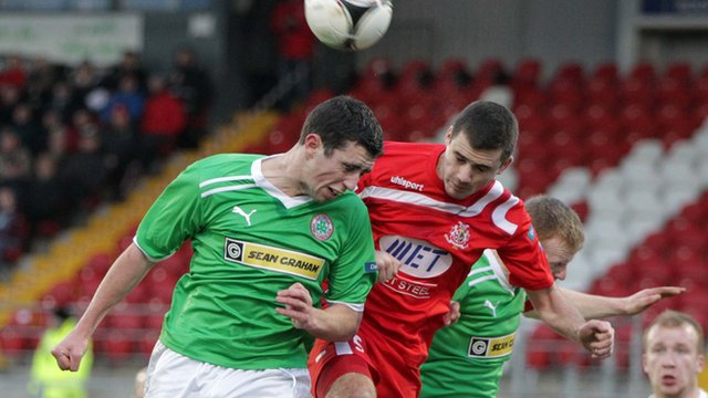 Match action from Portadown against Cliftonville at Shamrock Park