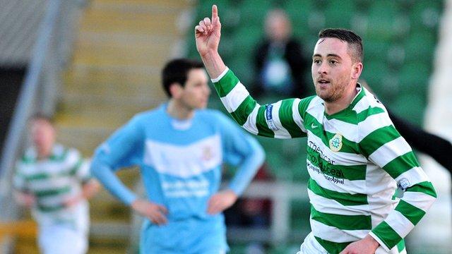 Donegal Celtic's Shane Dolan celebrates scoring the winner against Ballymena united