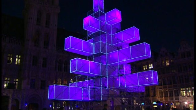 Abstract light installation in Brussels