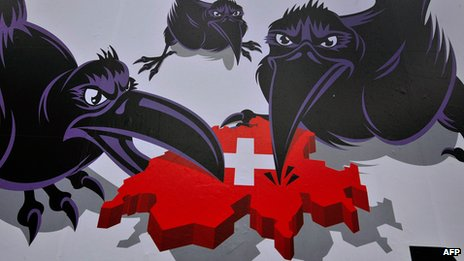 SVP election poster - foreign crows pecking at Switzerland