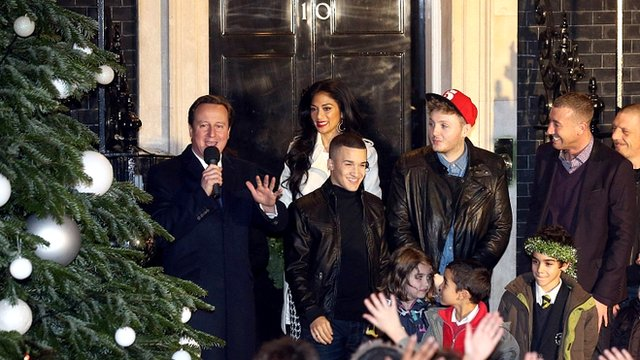 Prime Minister David Cameron and X Factor finalists