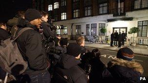 Press outside Prince Edward VII hospital in central London
