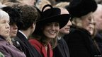 Kate Middleton (centre) looks round while watching The Sovereign's Parade at The Royal Military Academy Sandhurst on 15 December, 2006 in Sandhurst, England